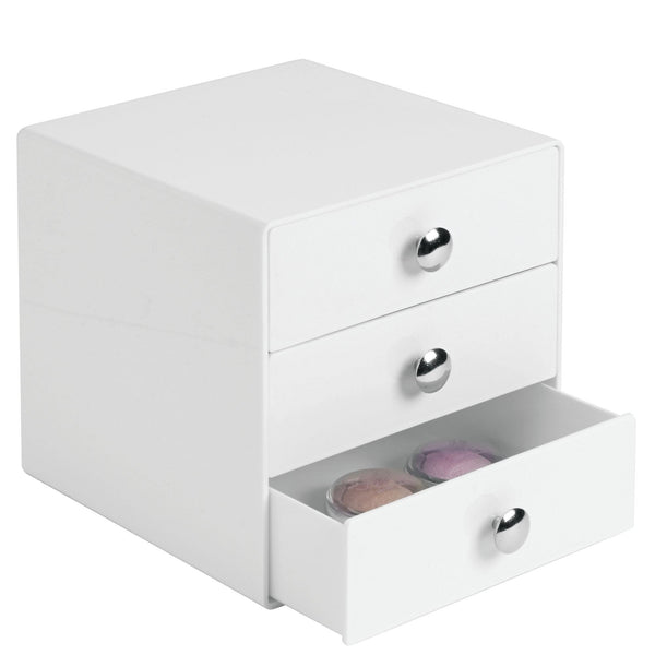 Order now idesign plastic 3 jewelry box compact storage organization drawers set for cosmetics makeup hair care bathroom office dorm desk countertop 6 5 x 6 5 x 6 5 set of 4 white