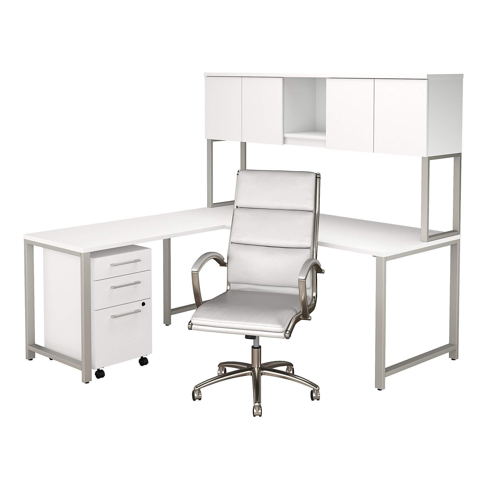 Amazon best bush business furniture 400 series 72w x 30d l shaped desk with hutch mobile file cabinet and high back office chair in white