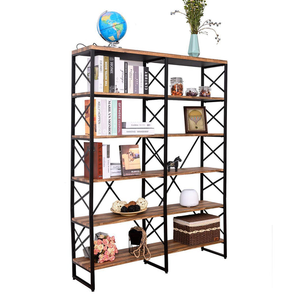 Home ironck bookshelf double wide 6 tier 70 h open bookcase vintage industrial style shelves wood and metal bookshelves home office furniture