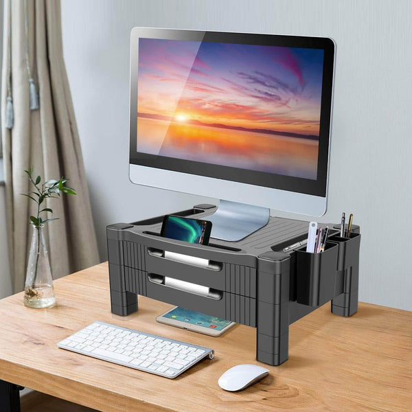 Discover the best monitor stand riser with dual storage drawers adjustable computer screen riser printer stand desk organizer with phone and tablet slot removable holder for pen pencil office supplies by huanuo