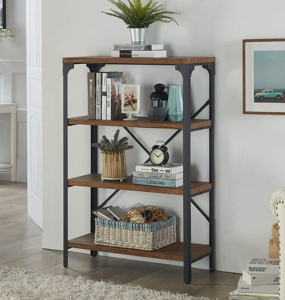 New homissue 4 shelf vintage style bookshelf industrial open metal bookcases furniture etagere bookcase for living room office brown 48 2 inch height