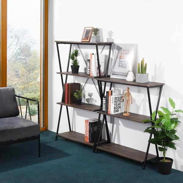 Budget aingoo 4 shelf bookcase vintage industrial bookshelf mdf with metal frame shelving unit home office shelf organizer multipurpose storage shelf display rack brown