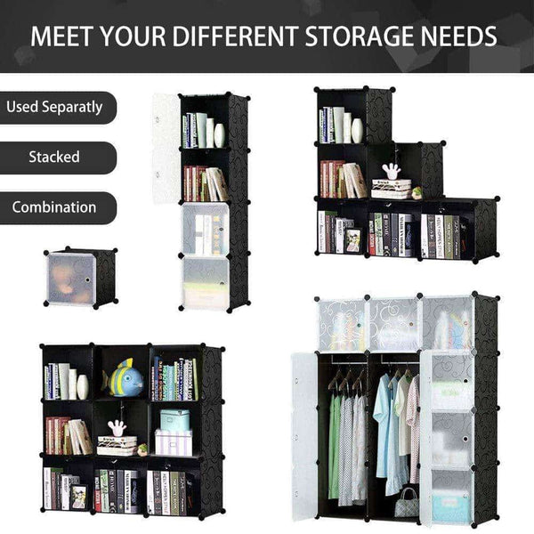 Storage honey home modular plastic storage cube closet organizers portable diy wardrobes cabinet shelving with doors for bedroom office 16 cubes black white