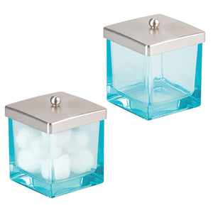 Modern Glass Square Bathroom Vanity Countertop Storage Organizer