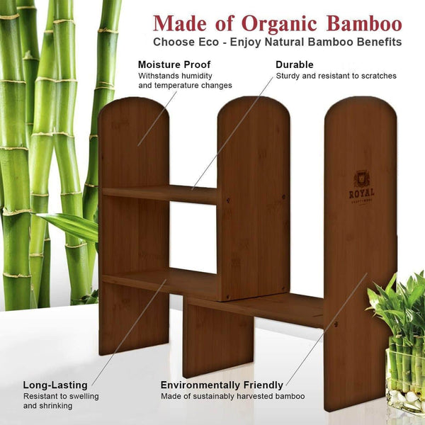 Save on expandable natural bamboo desk organizer accessory adjustable desktop shelf rack multipurpose display for office kitchen books flowers and plants brown