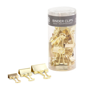 U Brands Gold Steel Binder Clips Assortment - 30 Count