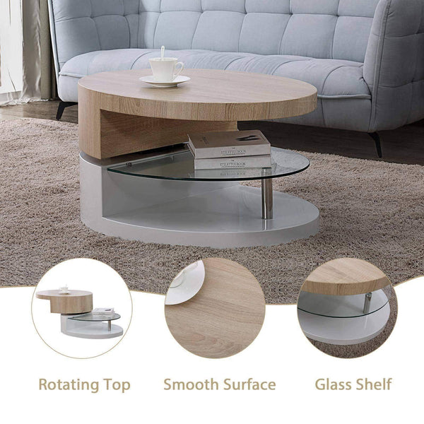 Top mecor swivel coffee table oval 360 degree rotating modern side end sofa tea table with glass 3 layers wood glass mdf living room office furniture