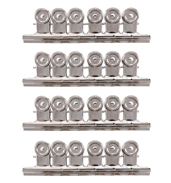 Tupalizy 51mm/2 inch Metal Hinge Clips Silver Bulldog Paper File Money Binder Clamps for Pictures, Photos, Home Office School Supplies, 24PCS