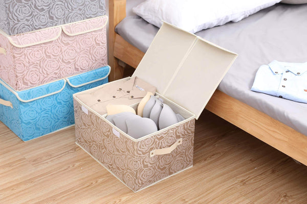 Budget friendly 2 pack drawer organization large linen 2 sections washable storage with lids and handles foldable closet organizer for nursery closet clothes toy home office bedroom grey khaki18 x 9 8