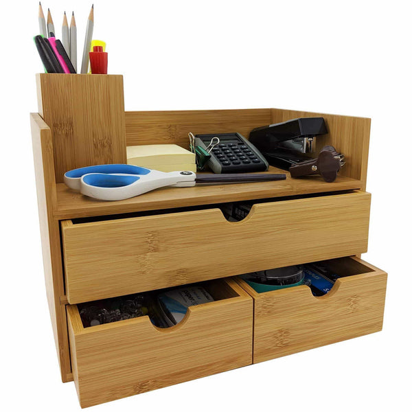 New sherwood co 3 tier bamboo desk organizer with drawers perfect for desk office supplies vanity kitchen and home or office tabletop with bonus pen pencil holder