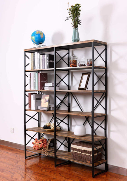 Latest ironck bookshelf double wide 6 tier 70 h open bookcase vintage industrial style shelves wood and metal bookshelves home office furniture
