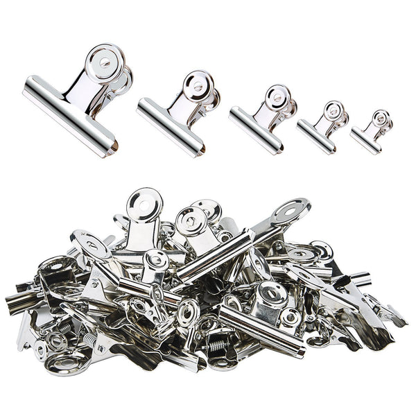 Sunmns 60 Pieces Stainless Steel Clips Heavy Duty Metal Clip for Photos Bags Kitchen Home Office Usage, 5 Sizes (0.78, 1.18, 1.5, 2, 2.5 inch)