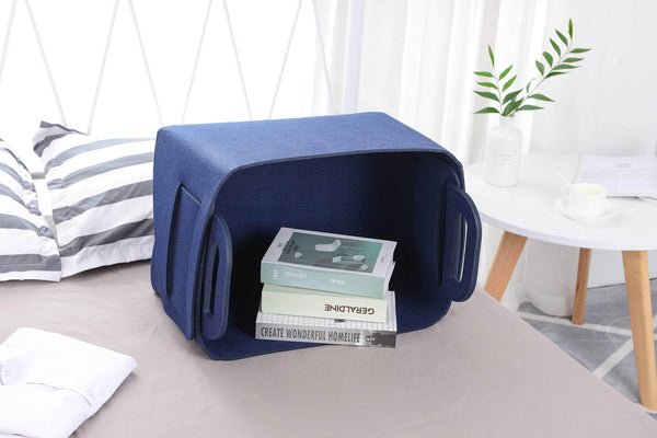 Products storage basket felt storage bin collapsible convenient box organizer with carry handles for office bedroom closet babies nursery toys dvd laundry organizing