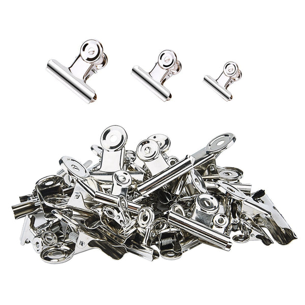 Sunmns 50 Pieces Stainless Steel Clips Heavy Duty Metal Clip for Photos Bags Kitchen Home Office Usage, 3 Sizes (1.18, 1.5, 2 inch)