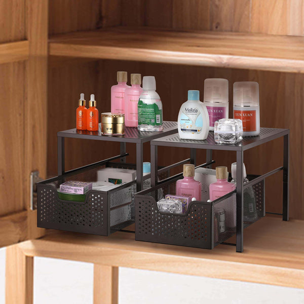 Discover the best simple trending under sink cabinet organizer with sliding storage drawer desktop organizer for kitchen bathroom office stackbale bronze
