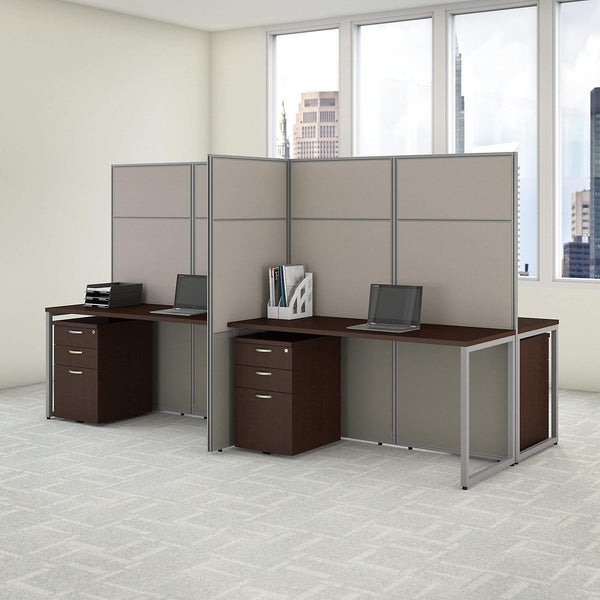 Storage bush business furniture eodh66smr 03k easy office 4 person cubicle desk with file cabinets and 66h panels 60wx60h mocha cherry