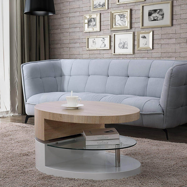 Shop here mecor swivel coffee table oval 360 degree rotating modern side end sofa tea table with glass 3 layers wood glass mdf living room office furniture