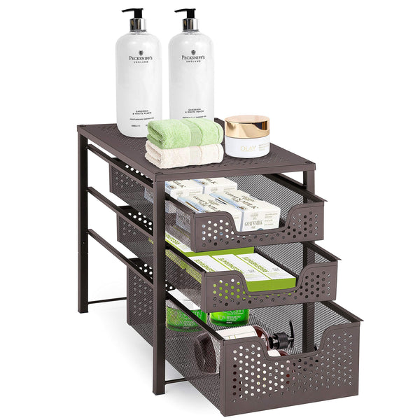 Buy simple trending 3 tier under sink cabinet organizer with sliding storage drawer desktop organizer for kitchen bathroom office stackbale bronze