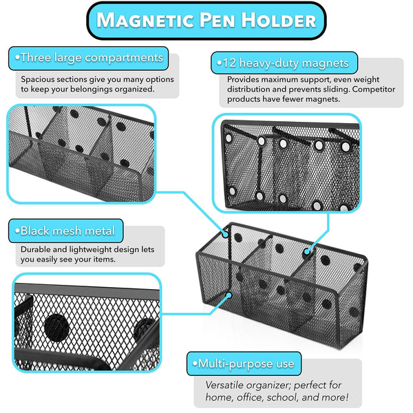 Storage essentialmate magnetic pen holder 12 strong magnets 3 storage compartments magnetic organizer for refrigerator office organization locker accessories