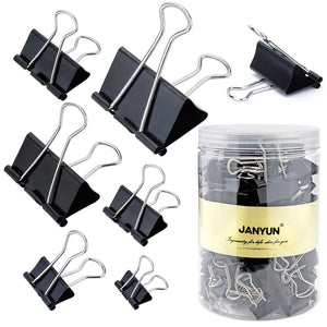 120 Pieces Binder Clips Paper Binder Clips for Notes Letter Paper Clip Office Supplies,6 Assorted Sizes,Black