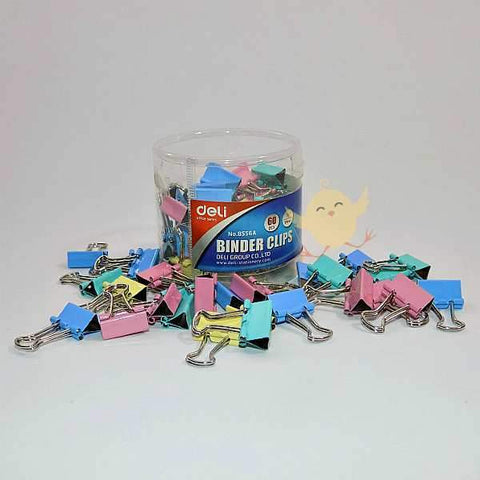 "DELI 60 Binder Clips 15mm (1/2"") Color [8556]"