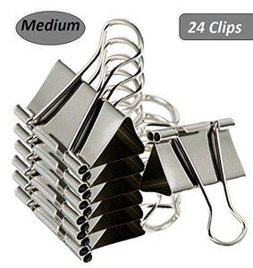 "1InTheOffice Medium Binder Clips,1 1/4"" with 5/8"" Capacity -24 Clips (Medium)"