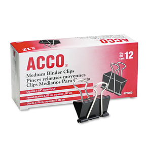 ACCO Binder Clips, Medium, Black/Silver, Dozen