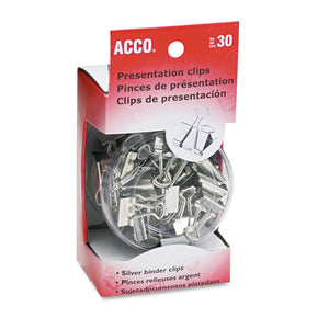 ACCO Presentation Clips, Assorted Sizes, Silver, 30/Box