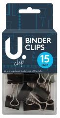 Binder Clips 15 Pack One Size School Home Office Use Binder Clips 19mm P2352