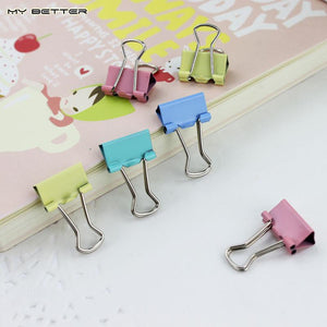15pcs Colorful Metal Binder Clips Paper Clip 15mm Office Learning Supplies Color Random