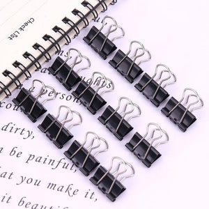 12PCS New Paper Clip 15 19mm Foldback Metal Binder Clips Black Grip Clamps Office School Stationery Paper Document Clips