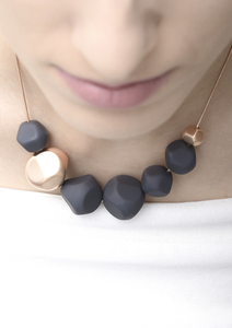 Soothing Pebbles Necklace - Rose Gold Grey