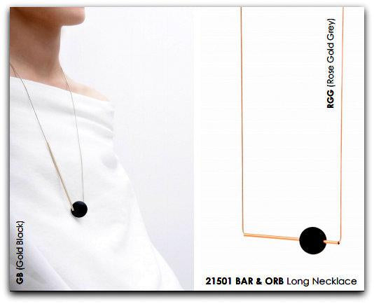 Bar & Orb Long Necklace - Silver Black