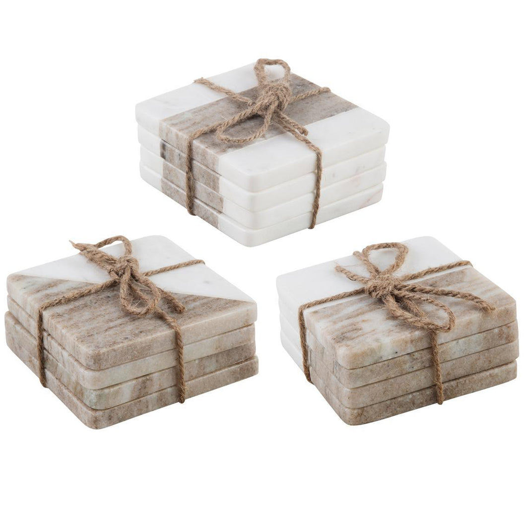 White and Sand Marble Coasters