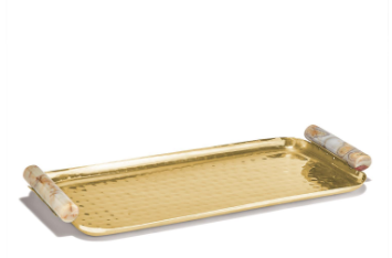 Brass Tray with Agate Handles