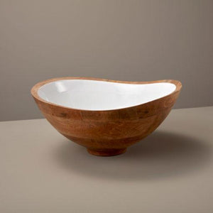 Mango Wood & White Enamel Bowl