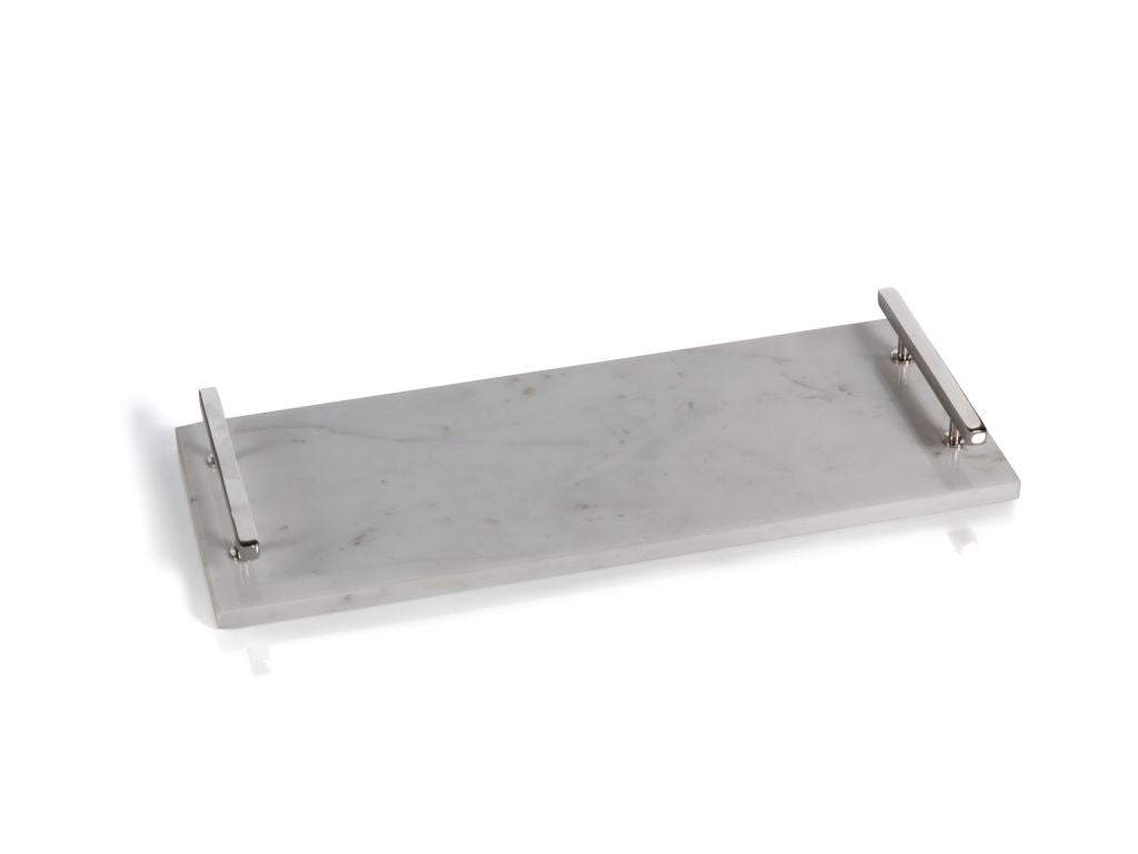 Rectangle Marble Tray with Nickel Handles