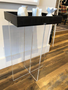 Acrylic Side Table with Removable Tray