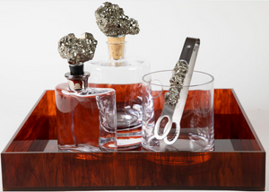 Decanter Glass with Pyrite Stone