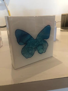 White Resin 6x6 Blue Butterfly