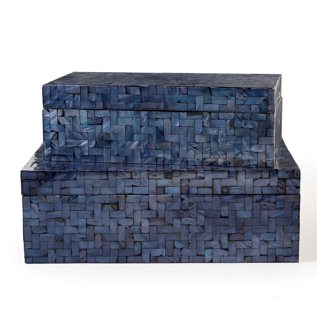 Midnight Blue Shimmering Decorative Covered Box