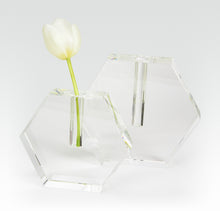 Load image into Gallery viewer, Crystal Glass HEX Flat Bud Vase