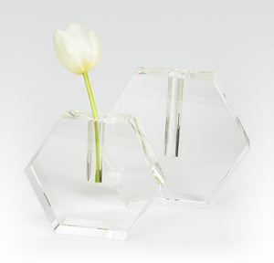 Crystal Glass HEX Flat Bud Vase