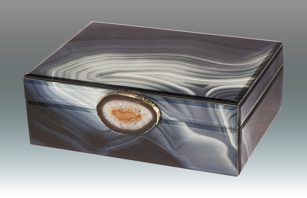 Marble Glass Box with Stone Grey