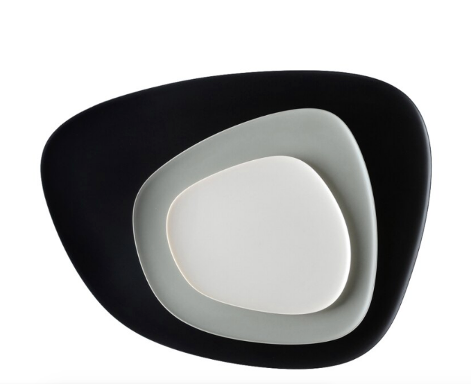 Namaste Asymmetrical Plate Set-Black/Grey/Dove