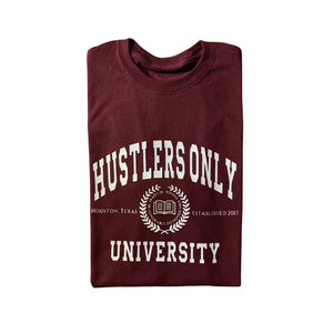 Hustlers Only University Maroon & White Logo Tee