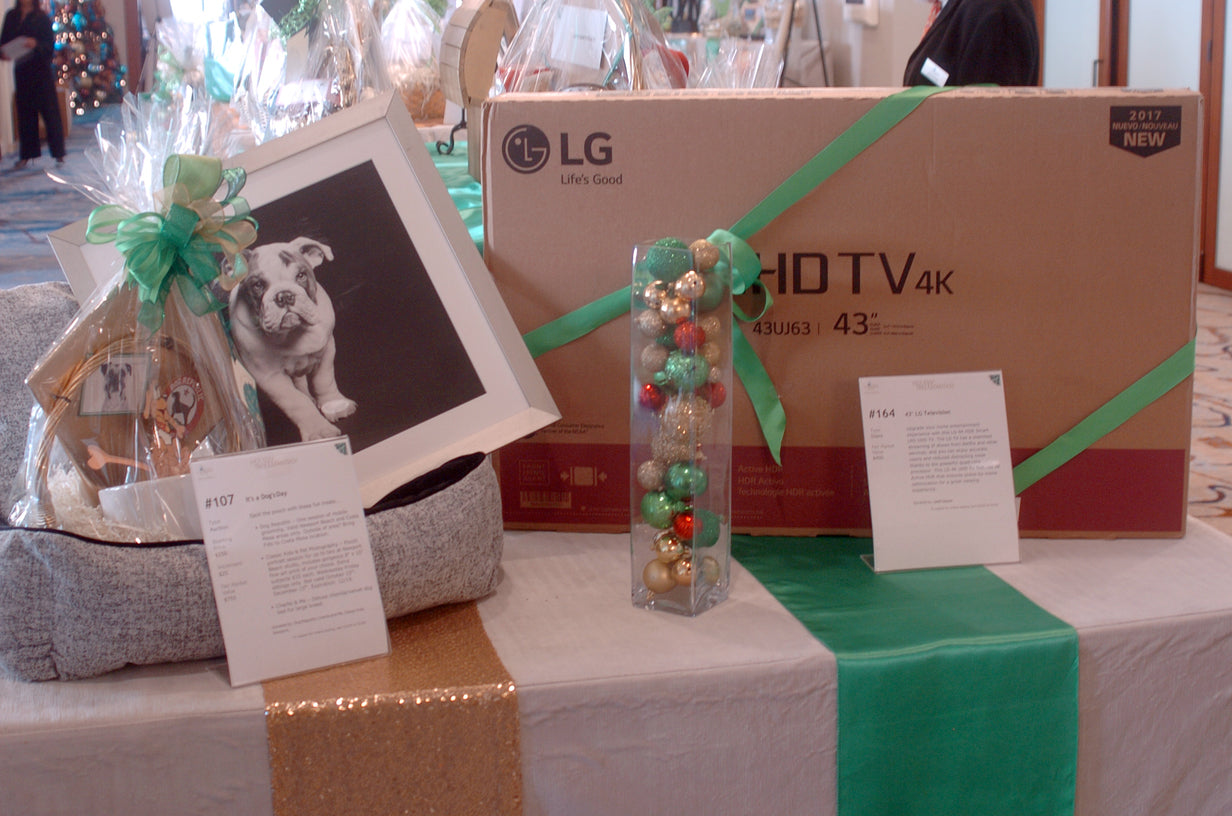 Display of auction items 107 and 164, a dog themed gift basket and a LG TV with descriptions