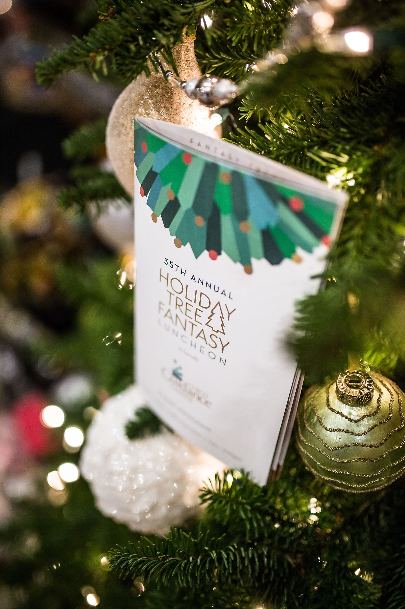 Holiday Tree Fantasy Brochure on Christmas tree, surrounded by ornaments