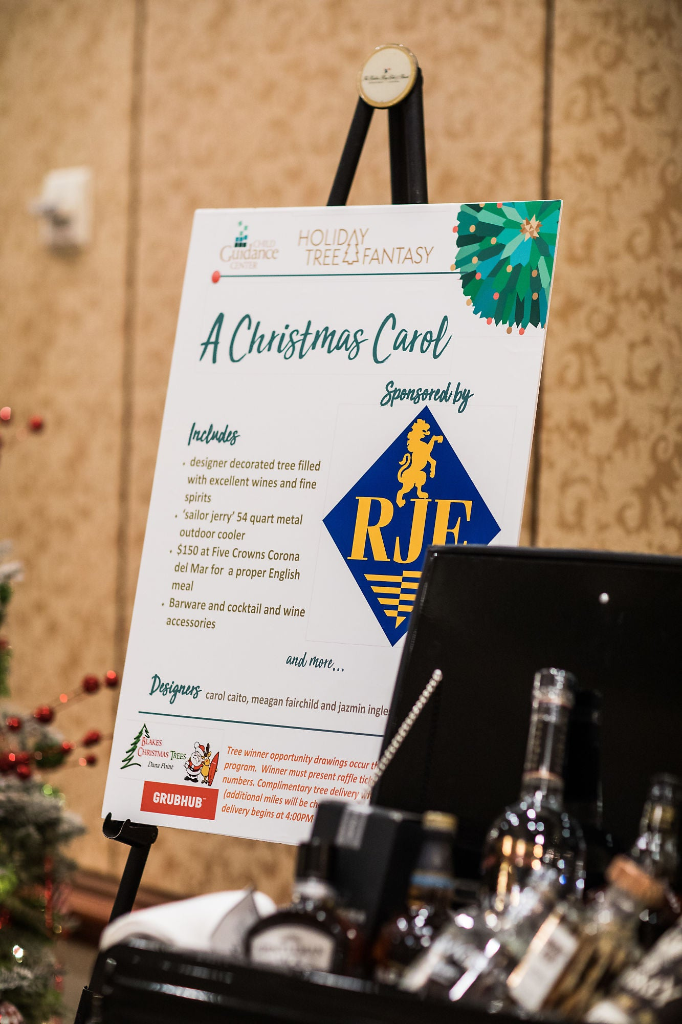 An information board titled as The Christmas Carol, explaining items included by the sponsor