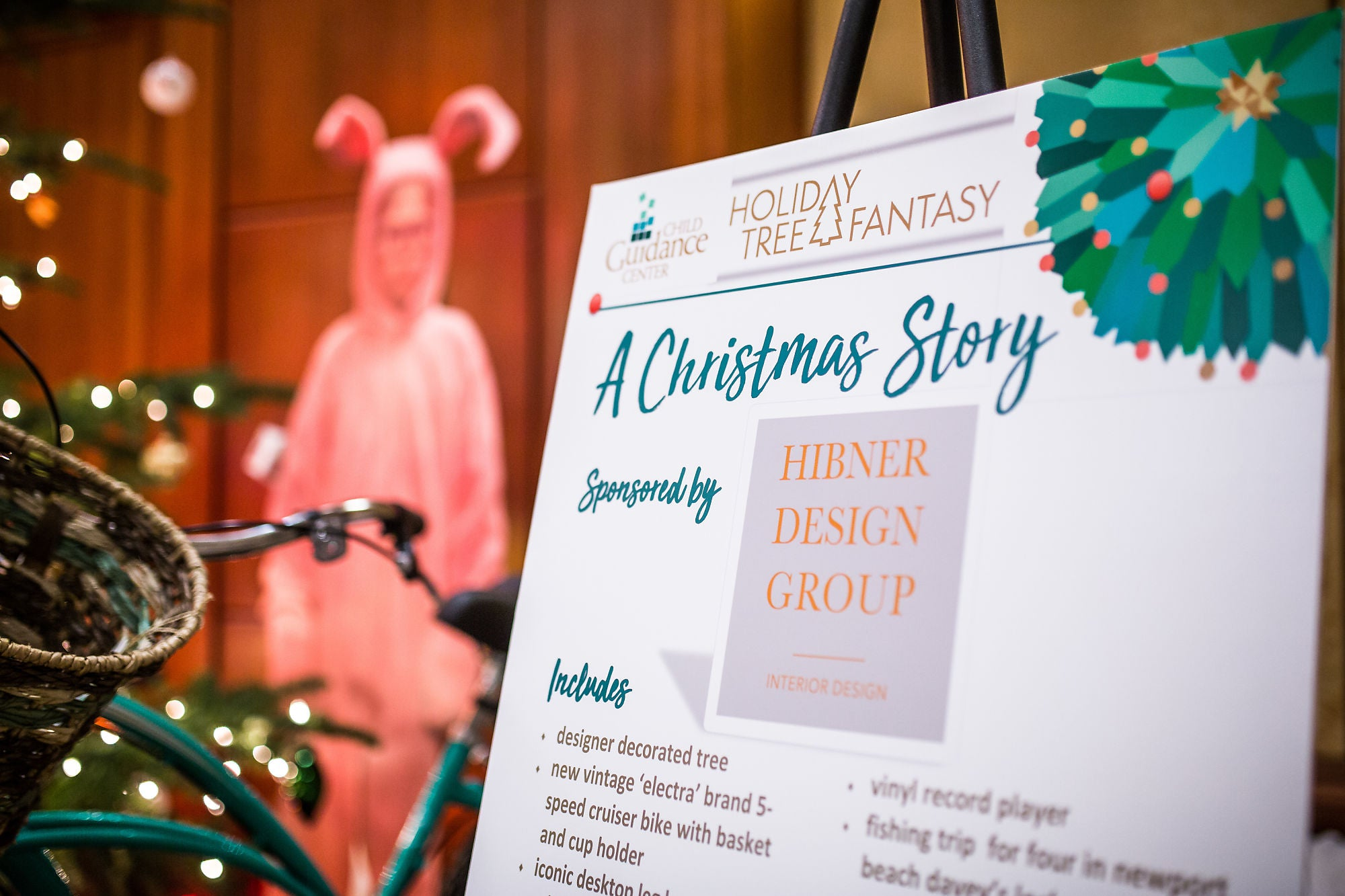 An information board titled as The Christmas Story, sponsored by Hibner Design Group